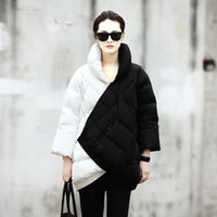 Wholesale Fashion Winter Coat Women New European Fashion Week Catwalk Long Section Black And White Mix Color Pregnant Thick Warm Down Jacket