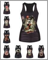 Wholesale Fashion Harley Quinn Tattoo Princess Ariel Tinkerbell Frida Kahlo Tiana Aurora Elsa Digital Print Tank Top Women Camiseta Shirts