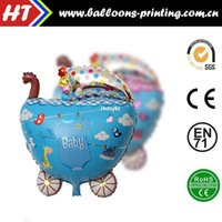 aluminum baby stroller - 50pcs alumnum balloons Festival party supplies Dedicated month old baby stroller aluminum balloons baby stroller arranged a birthday party