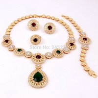 Cheap Wholesale-Fashion jewelry sets 18k gold necklace 18k gold plated austrian crystal jewelry sets african costume jewelry set high quality