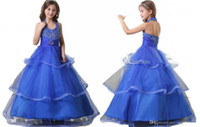 beaded blue lotus - Blue Lotus Leaf Flower Girl Dresses Hanging Beaded Neck A Line Skirt Pageant Contestants Communion Clothes Girl Princess Dress