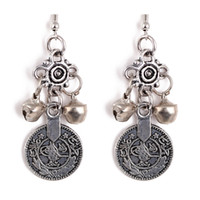 Wholesale 2016 New Silver Turkish Bell Coin Earrings floral design Boho Gypsy Beachy Ethnic Tribal Festival Jewelry