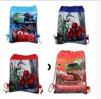 Wholesale 2015 New Styles Spiderman bags Cartoon Drawstring bag backpacks McQueen Bags cartoon kids shopping bags handbags LJJD2646