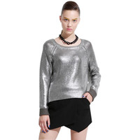 Cheap gold foil metal knitted women sweaters Fashion tricot pullover jumpers streetwear Warm oversized top autumn pull