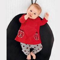beetle shirt - Children s Outfits baby clothing suit Girls long sleeved T shirt red beetle Leggings Baby leisure suit