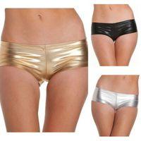 Wholesale Silver Thong Panties - Adult Lingerie Sexy Metallic Booty Shorts Panties Thong For Women Satin Underwear Black Gold Silver BP6342