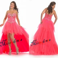 hot robe - 2015 Hot High Low Pageant Dresses Sweetheart Ruffles Tulle Beading Lace Up Prom Gowns High Quality Custom Made Robe de Soiree