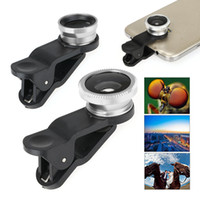 Wholesale US Stock Universal in1 Clip On Lens Fish eye Wide Angle Macro Camera Fisheye Lenses For Cell Phones