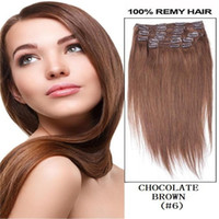 Wholesale 160g pc set Chestnut Brown real human hair brazilian hair clips in extensions real straight full head high qualit