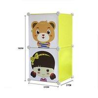 Wholesale Simple Wardrobe Combination DIY Home Storage Boxes Cartoon Large Wardrobe PP Plastic Combination Model Bedrooms Wardrobe