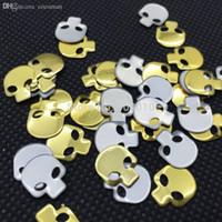 achat en gros de pointes de goujon gros-Gros-200pcs 8x12mm Or Skull Rivers 3D Nail Art Montants de métal Pointes d'or Hot Fix Expédition Décoration Vêtements Strass gratuit