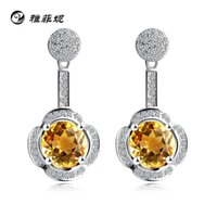Cheap Yafei Ni S925 sterling silver jewelry Korean version of the pure natural citrine earrings birthday gift boutique sources