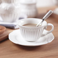 Wholesale European emboss white ceramic tea cups and saucers coffee cup porcelain white vintage tea set J83