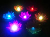 19CM Lotus artificial LED lámpara colorida cambiado agua flotante flor piscina deseando luz lámparas linternas para fiesta de boda