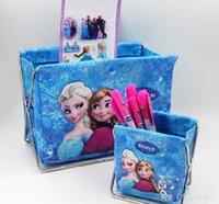 Wholesale Frozen Children Girls Table Storage Iron Holder Princess Elsa Anna Women Big Gilrs Make Up PVC Fold leather Storage Boxes