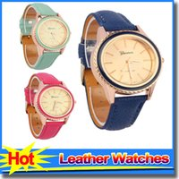 bangle style watches - Womens Wrist Watches With Leather Geneva Watches Korean Style Luxury Crystal Cheapest Bangle Watches For Women Ladies