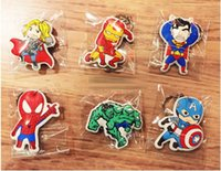 Wholesale Fashion New Avengers Keys Chain Key Chains Kids Boys Girls Toys Car Helicopter American Captain Spiderman Hulk Superman Keychian Cartoon