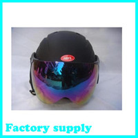 Wholesale hot sale ABS five color factory supply adult with visor ski open face helmet skateboarding skiing helmets
