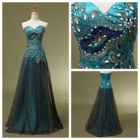 Wholesale New Stock peacock Prom dresses Sweetheart Tulle Floor Length Prom Evening Party Dresses Gowns