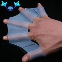 Wholesale 1 Pair Webbed Swimming Hand Paddles Silicone Mittens Gloves Swimming Fins Hand For Children Adult M L XL