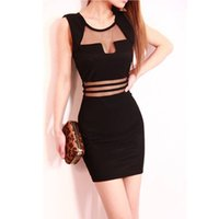 sexy night clothes - New Arrival American Night Club Sexy Women Clothing Temptation Mesh Voile Clear Low Bosom Hollow Out Short Dress