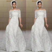 Wholesale 2015 Saudi Arabic Style Wedding Dresses with Jacket Stunning Bateau Organza Lace Half Long Sleeves Bridal Gowns Modest A line Wedding Dress