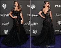 Cheap 2015 Elie Saab Evening Dresses Short Sleeve Illusion Neckline Beading Mermaid Black Nina Dobrev Golden Red Carpet Celebrity Dress Prom Gowns