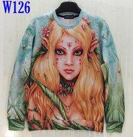 beautiful girl asia - w20151222 Mikeal Men Women d Sweatshirt Print Beautiful Spring Scenery Angel Girl Casual Hoodies Green Color Size Asia S XL