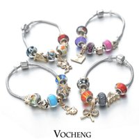 Cheap Mixed Ordered (10pcs lot) Chamilia Bracelet Various Gold Charms Murano Glass Beads Jewelry for Women(Vb-078) Vocheng Jewelry