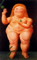 ans oil - Mordern fashion oil painting bar and pub Fernando Botero reproduction hand painted woman with pear ans snake