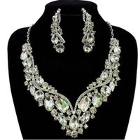 Wholesale Crystal Rhinestone Wedding Bridal Party Tear Drop Earring Necklace Jewelry Set
