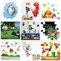 art home stickers - Mix Order Removable Cartoon Wall Sticker for Kids Nusery Rooms Decorative Wall Decals Home Decoration Movie Wallpaper Wall Art d Window