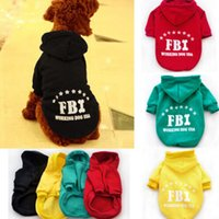 Fall/Winter pet dog clothing - New Arrivals Dog Pet Warm Soft FBI Costume Coat Clothes Sports Sweater Hoodie Apparel WX73