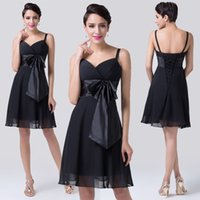 Cheap Fashion Sexy Women Black Cocktail Dresses Short Spaghetti Sweetheart Neckline Chiffon Ball Party Gown CL6180