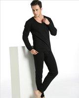 Cheap SHINO big V-neck Slim plus thermal underwear thick velvet suit men's double solid warm