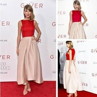 dresses new york - Swift Red and Nude Celebrity Dresses The Giver New York Premiere Spring Dress Bateau To Party Evening Prom Gowns Ankle Length