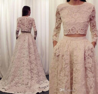 arabic fashion designers - Designer Two Pieces Evening Dresses Arabic Long Sleeves Lace Vintage Women Formal Celebrity Wear Jewel Neck Plus Size Prom Party Gowns New