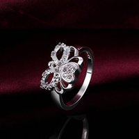 Wholesale F10561 JMT Piece CZ Diamond Butterfly Design Classic Romantic Silver Plated Flat Ring Best Gift For Ladies FreePost