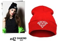 Wholesale Hot Sale Winter Hat Cap Beanie Wool Knitted Men Women Caps Hats Diamond Embroidery Warm Beanies Unisex jy128