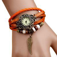 Wholesale Women Leather Vintage Bracelet Wrist Watch Wristwatches Wing Leaf Heart Pandent Retro Watches Vintage waitingyou