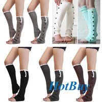 ladies knee socks - Lady Knee High Knit Flat Lace Trim Button Down Crochet Leg Warmers Boot Sock