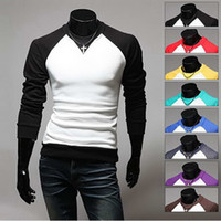 Round neck raglan shirt - casual men s fashion long sleeved t shirt Hot New Men Slim fit spell color raglan sleeves T Shirts Round neck
