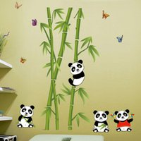 bamboo posters - Top Quality Panda Eating Bamboo Nursery Room Wall Decals Wallpapers Kids Room Wall Stickers PVC Removable Home Decor Posters S2