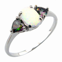 Wholesale opal jewelry with cz stone fashion opal rings with Mystic rainbow OR020A