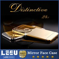 aluminum frame mirror - iphone s s plus samsung galaxy s7 s7edge s6 s6 edge plus note5 Aluminum luxury metal bumper frame case with mirror case Back cover