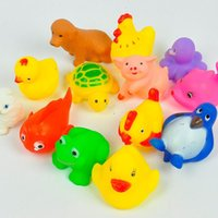 Cheap Christmas gifts 10 PCS Bath Tub Toys Soft Plastic Lovely Animals Toys Sqeeze Sound for Baby Bath Bathing Play toys baby bathroom Free Shippi