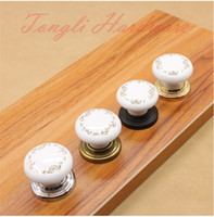 Wholesale 10 white vintage ceramic door knob handle pull with golden flower for cabinet kitchen and drawer