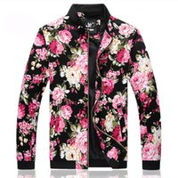 Wholesale Fall New Arrival Men s Flower Print Jackets Rib Collar Jaqueta Plus Size XXXXL Mens Jackets and Coats Chaqueta Hombre Jacket Men