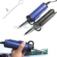 Wholesale 2pcs W Strong Automatic Electric Vacuum Solder Sucker Desoldering Pump Iron Gun AC V Black and Blue with Retail Box