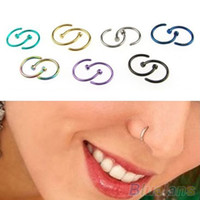 Wholesale 50PCS Stainless Steel Nose Open Hoop Ring Earrings Body Piercing Jewelry MGI
